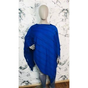Travelers by Chico's Ribbed Fringe Poncho Blue